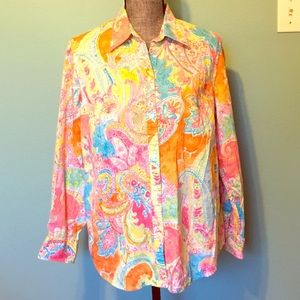 Chaps Bright Floral Button Up Shirt 1X Long Sleeve